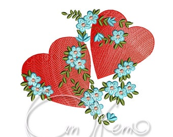 MACHINE EMBROIDERY DESIGN - Two hearts, Valentines Hearts, Wedding hearts, Hearts embroidery file