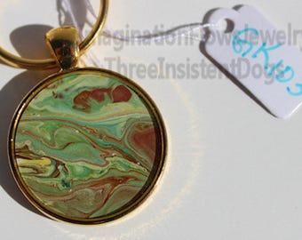 Handmade Jewelry, Acrylic Flow, Inexpensive,  Each Keychain Unique
