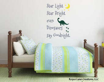 Star Light Star Bright Even Dinosaurs Say Goodnight Wall Decal