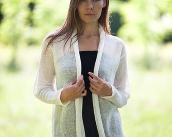 Loose linen jacket. Natural linen cardigan. Linen wrap. White linen jacket Open linen jacket. Linen knitwear. Women clothing. Linen clothing