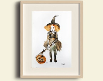 Halloween Art. Halloween watercolor painting, Halloween Witch Art, Halloween Card. Halloween Pumpkin. Halloween Gift. FREE SHIPPING!
