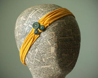 Recycled T-Shirt Headband with Vintage Buttons