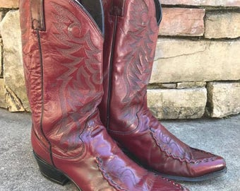 Vintage Dan Post Cowboy Boots Vtg Burgundy Red Leather Western Boots Made in USA Men's Size 10 1/2
