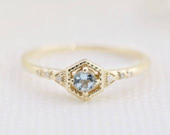 14k gold aquamarine engagement ring, genuine aquamarine ring, dainty unique alternative engagement ring, march birthstone, mil-r102-3mm-aqu