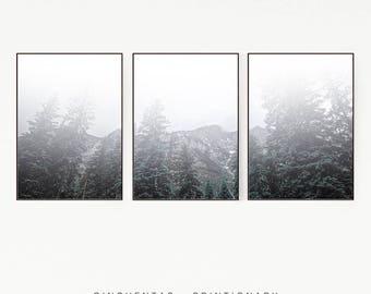 Set of 3 Prints Pine Tree Wall Decor Nordic Green Print Poster Scandinavian Monochrome Mountains Nature Wilderness Wild Retro Vintage 1006