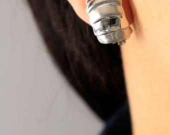 Silver Clip On Earrings - Shell Silver Earrings - Silver Earrings