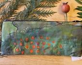01 FOREST DOTS - pencil sized canvas zipper pouch