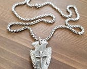 Little D Designs Cross of Nails Arrowhead Pewter Pendant Necklace Stainless Steel Chain Christian Jewelry USA Free Shipping