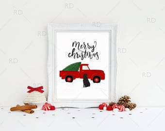 Red Christmas Truck with Black Lab - PRINTABLE Wall Art / Merry Christmas / Printable Christmas Art / Red Christmas Truck with Black Lab