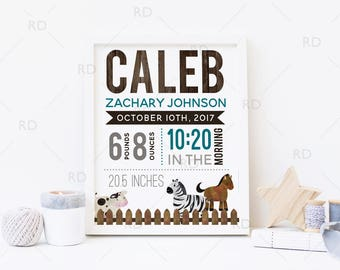 Farm Animals Birth Announcement PRINTABLE Wall Art / Date of Birth Printable / Baby Name Print / About Baby Print / You pick colors!