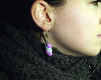 Purple Pink and Blue Marshmallow Earrings
