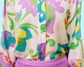 70s Pastel Floral Blouse / Vintage Flower Print Top / Women's Long Sleeve Shirt / 1970s Groovy Button-Up Purple Blue Colorful Tops