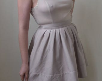White/cream dress with sheer top and bell skirt- S/M