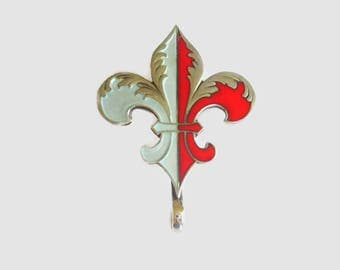 Antique Pendant Pin, Fleur de Lis, Victorian, Watch Holder, Red & White Enamel, Sterling Silver, Beautiful!