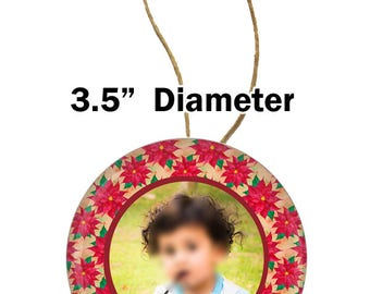 Christmas ornament, photo button ornament,photo button style ornament, photo ornament with Poinsettia pattern