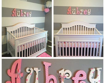 Hanging nursery letters, girl nursery letters, girl nursery decor, nursery decor, nursery wall letters