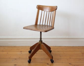 SOLD - Vintage industrial wooden office chair by Stoll Giroflex
