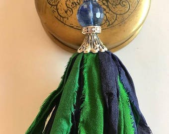 Sari Silk Tassel Necklace-Green & Navy Tassel-Boho Tassel Jewelry