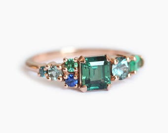 Cluster Ring, OOAK Cluster Ring, Green Sapphire Sapphire Ring, Emerald Cluster Ring, Gold Cluster Ring, OOAK engagement