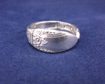 FREE SHIPPING Silver Spoon Ring- 1937 First Love- Vintage Silver Spoon Jewelry size 7.5