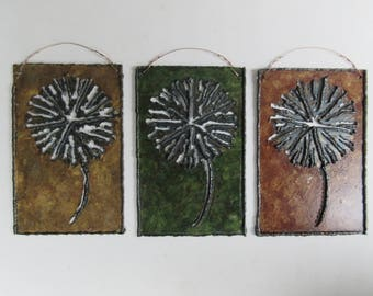 Dandelion Flowers Wall Hung Metal Art Tile - Metal Sculpture, Wall Art, Nature, Rustic