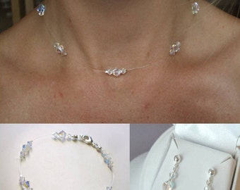 Clear or AB Swarovski Crystal illusion jewellery set crystal wedding jewelry set, bridal necklace bracelet and earrings set bridesmaid set