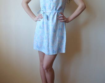 Soviet Era Design Vintage Summer Mini Dress Sleeveless Pale Blue Pink Yellow Floral Jabot