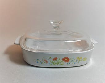 Vintage Large Corning Ware Wildflower Casserole Dish With Lid A-10-B