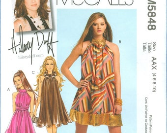 2009 Misses' Dress with Standing Collar and Sash by Designer Hilary Duff Uncut Factory Fold Size 4,6,8,10 - McCall's Sewing Pattern 5848