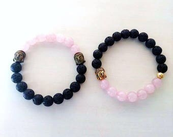 Set of 2 Rose Quartz Buddha Aromatherapy Essential Oil Stretch Bracelets