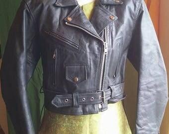 Women's Leather Biker Motorcycle Jacket