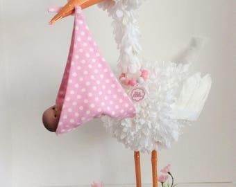 Stork Centerpiece, baby girl stork centerpiece,  unique baby shower centerpiece, welcome new baby decoration,  baby shower table decoration