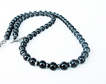 Mens Black Onyx Necklace, Mens Choker Necklace, Mens Hematite Necklace, Mens Beaded Jewelry, Mens Beaded Necklace