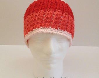 girls woman's winter beanie hat, cloche hat, crochet knitted beanie hat for girls, children's beanie hat, girl's toque, winter beanie hat