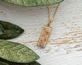 Gold Rectangle Feminine Hand Embroidered Necklace Pendant - Bouquet of Purple, Lavender, Pink Pastel Flowers - Modern Embroidery Jewelry