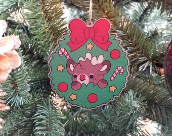 Kawaii Rudolph the Reindeer Wooden Christmas Tree Ornament