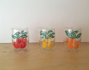 Set of 5 French Vintage Drinking Glasses- Orange, Lemon and Tomato Motifs