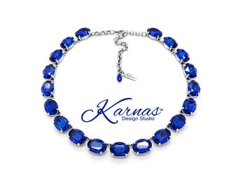 LA BELLE ÉPOQUE Majestic Blue 18x13mm Georgian Style Necklace Swarovski Crystal *Antique Silver *Karnas Design Studio™ *Free Shipping