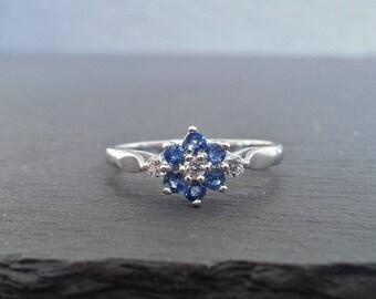 Vintage Floral Sapphire Diamond Cluster Engagement Ring