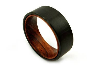 Ring, Black Tungsten and Cocobolo, Black Tungsten Ring, Jewelry Designer, Jewelry Maker, Renaissance Man, Exotic Wood Ring, Cocobolo Band