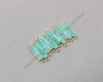 Short Bar Turquoise Connectors -- With Electroplated Gold Edge Charm Wholesale handmade craft supply CQA-085-2