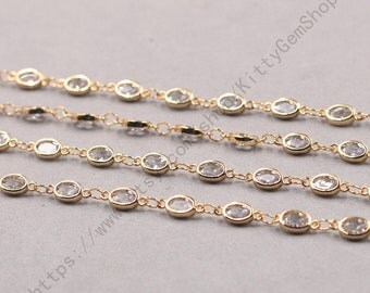 1ft, Oval White Zircon Connector Chain With Gold Plated -- Faceted Rosary Chains Wholesale Handmade Craft Supply CQA-091