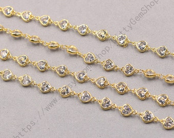 1ft, Heart White Zircon Connector Chain With Gold Plated -- Faceted Rosary Chains Wholesale Handmade Craft Supply CQA-091