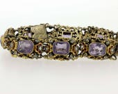 Gold Filled Floral Enamel Bracelet with Amethyts