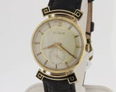 14K Yellow Gold and Black Enamel LeCoultre Wrist Watch
