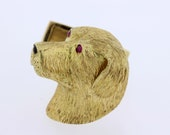 Cufflinks 18K Gold Carved Dog