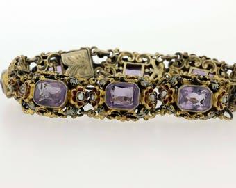 Gold Filled Floral Enamel Bracelet with Amethyts