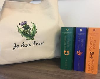 Je Suis Prest Jumbo Book Bag, Scottish Thistle, Inspired by Outlander, Gifts for Readers, Book Tote, 100% USA Made