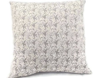 White and Light Grey Paisley Scroll-Invisible Zipper Pillow Cover-Bedroom-Living Room-Party-RV-Nursery-Couch-Custom Pillow Cover
