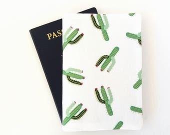 Cactus passport cover, Cacti passport holder, Succulents passport wallet, Holder for 2 passports, Fabric passport case, Girl traveller gift